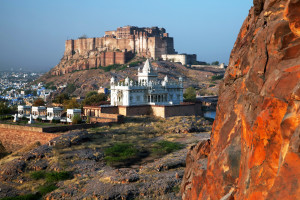 Mehrangarh Fort and Jaswant Thada mausoleum in Jodhpur, Rajasthan, India