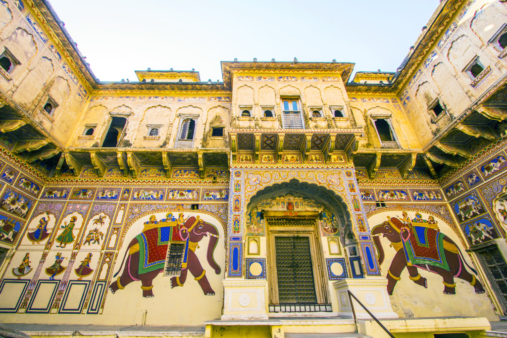 MANDAWA INDIA OCT 25 2012: beautiful old haveli in Mandawa India. The town referres as the open art gallery of Rajasthan because it is dotted with fascinating havelis with lavishly painted walls.