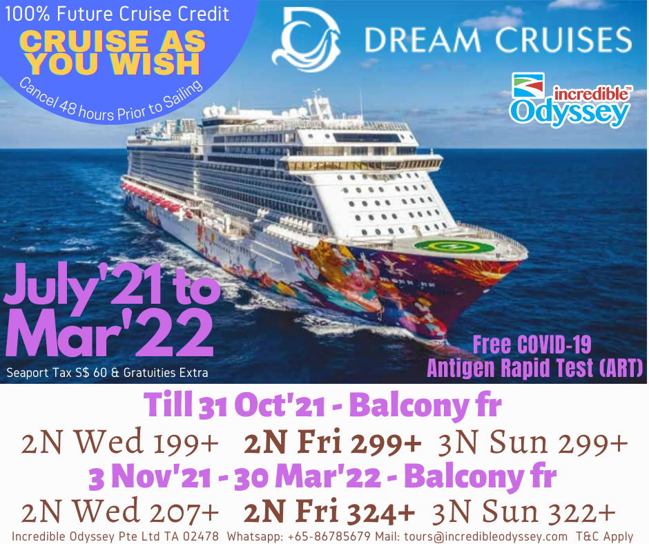 Dream Cruise Offers Till Oct, 2021